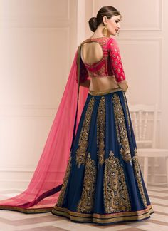 Buy Fabulous Georgette Navy Blue A Line Lehenga Choli, Online
