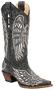 Corral® Ladies Distressed Black w/ Winged Cross White Inlay Snip Toe Western Boot