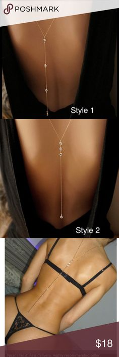 Summer Boho Sexy Back or Beach Bikini Body Chain HOT body jewelry worn in front or back. Select from Style 1 or Style 2, in gold-tone or silver-tone. Wear with your hottest backless dress, bikini, lingerie, favorite halter, and more! Exquisite crystal detailing and sparking chain are so more more brilliant and vivid than these photos portray! Bundle with our belly chains, beach dresses, and more to receive 15% off your purchase and only one Posh ship fee. Each order is shipped fast with a…