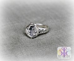 Sterling Silver Moon Poison Ring