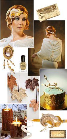 Golden brown art deco autumn wedding