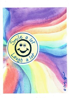 "5x7 Art Print -- ""Smile a Lot Laugh a Lot"" Funky by Affirmtoo on Etsy"