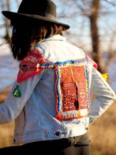 Vintage upcycled bohemian denim jeans jacket Tribal Patch ethnic festival gypsy…