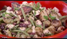 Bobby Flay's Grilled Fingerling Potato Salad with Feta, Green Beans and Olives