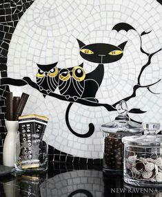 Mosaic Kitty & Owls on a branch...