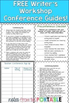 I LOVE these FREE Writer's Workshop Conference guides.  These conferencing tips helped me assess my students understanding of the writing process.  The perfect addition to launching my writer's workshop.
