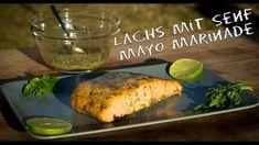 Gegrillter Lachs mit Senf-Mayo-Marinade - Rezept von Daughter und Dad's Sizzlezone Mayonnaise, Bbq, Pulled Pork, Baked Potato, Turkey, Potatoes, Baking, Ethnic Recipes, Food