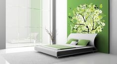 Home Decor - Decoration Lovely Green Bedroom Wall Decals Inspiration With Green Wall Paint Color Also Black Tree And Green White Leaves And Flowers Besides White Platform Bed Green Pillows Lovely Wall Decal Ideas Galleries Curve Black Branches. Pink Fairy Tales Words. Pink Leather Spring Bed.