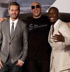 """Paul Walker, Vin Diesel and Tyrese Gibson attend the premiere of """"Fast Five"""" in Rio, Brazil."""