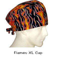 BIGGER Scrub Surgical XL Cap Flames 100% cotton made in the USA