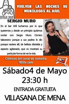 De verdad te lo vas a perder? 4 de Mayo, a partir de las 23:30h.. vuelven las Noches de Monólogos al Añil!!  Esta vez con Sergio Muro al micrófono. Por fin le tenemos aquí.