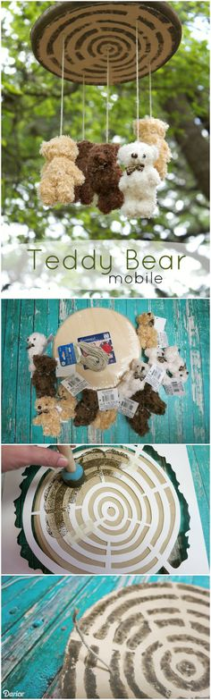 This sweet DIY mobile project features adorable little bow tied bears that would make a great addition to any play room or nursery.