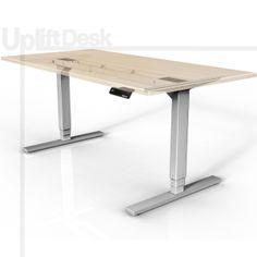 UpLift 900 Sit-Stand Ergonomic Desk (Silver) | Affordable electric adjustable height standing desk, laminate or butcher block top.