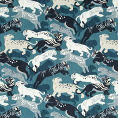 blue Grey Upholstery Fabric Cotton Animal by PopDecorFabrics tiger cubs