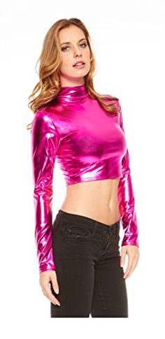 Red Hanger Women's Crop Top - Metallic Wet Look Mock Neck Turtleneck - Long Sleeve (Fuchsia-M) - Buy Online in UAE. | Apparel Products in the UAE - See Prices, Reviews and Free Delivery in Dubai, Abu Dhabi, Sharjah - Desertcart UAE