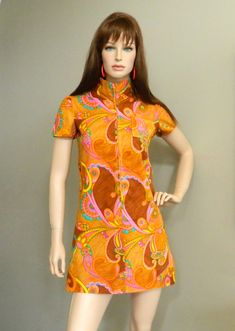 1960's Psychedelic Mini Dress Orange Brown with Zip Front Mod Collar Size Small. $49,00, via Etsy.