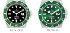 Rolex Kermit vs Hulk | The Watch Club by SwissWatchExpo Rolex Submariner Green, Submariner Watch, Day Date President, Sea Dweller, Pre Owned Rolex, Iwc, Kermit
