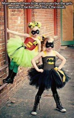 Cute twin costumes!  How do you choose who gets to be Batman?