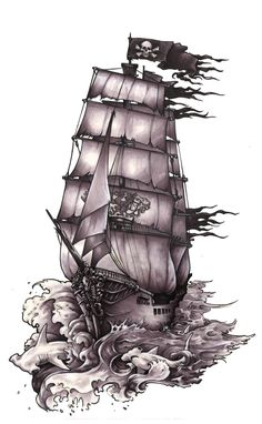 Awesome Pirate Ship With Hammerhead Shark Tattoo Design - Awesome Pirate Ship With Hammerhead Shark Tattoo Design - Trendy Tattoos, Cool Tattoos, Tattoo Barco, Biomech Tattoo, Pirate Ship Tattoos, Pirate Boat Tattoo, Pirate Cannon Tattoo, Hammerhead Shark Tattoo, Hai Tattoos
