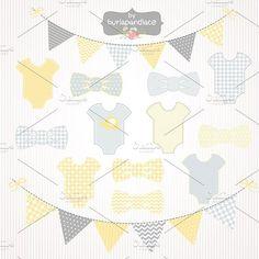 Baby boy yellow/grey clipart. Banner #babyboyclipart #babyboybanner