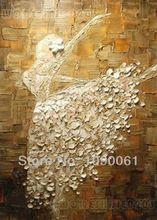 met de hand geschilderd abstract canvas kunst textuur mes witte jurk danser olieverfschilderij modern muur foto decoratie noframed(China (Mainland))