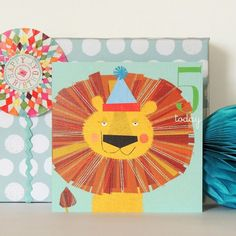 Age Five Lion Card by Kali Stileman Publishing, the perfect gift for Explore more unique gifts in our curated marketplace. Lion Party, Texture Board, Animal Party, Party Animals, What Is Your Goal, Teal Background, Flocking, Party Hats, White Envelopes