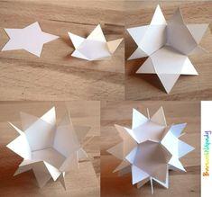 3D hvězda z papíru Easy To Make Christmas Ornaments, Christmas Arts And Crafts, Handmade Christmas Decorations, Christmas Tree Themes, Christmas Paper, Paper Decorations, Holiday Crafts, Diy And Crafts, Paper Crafts