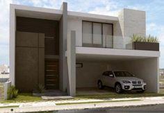 Fachada de casa moderna de dos niveles con terraza
