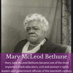 """A champion of racial and gender equality, Bethune founded many organizations and led voter registration drives after women gained the vote in risking racist attacks."" *Connects to and NJ Social Studies * -Meg P. Black History Facts, African History, Women In History, Black History Month, World History, Mary Mcleod Bethune, Ccss Ela, Wax Museum, Voter Registration"