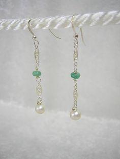 Genuine Emerald Pearl Earrings In  Sterling by RLGemstoneElegance, $65.00