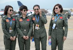 TOP GUN LADIES!!! Yu Xu, Tao Jiali, Sheng Yifei and He Xiaoli seen on the runway of the Zuhuhai exhibition. They are the first female military pilots to join the Aeobatics Team of the People's Liberation Army of China... http://www.1502983.talkfusion.com/products/