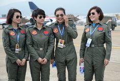 Yu Xu, Tao Jiali, Sheng Yifei and He Xiaoli seen on the runway of the Zuhuhai exhibition. They are the first female military pilots to join…