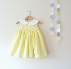 Girls Peter Pan Collar Dress In Lemon Yellow And by VesperClothier. , via Etsy.