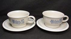 Pfaltzgraff 4 pc Set  YORKTOWNE Coffee Tea Soup Chili  Mugs & Saucers  Blue Grey #Pfaltzgraff