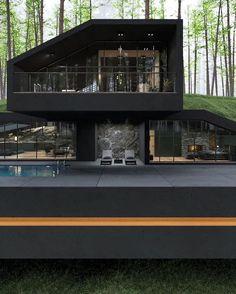 Dream House Interior, Luxury Homes Dream Houses, Dream Home Design, Modern House Facades, Modern House Design, Modern Houses, Villa Design, Home Building Design, Building A House