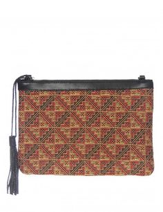 Ethnic print clutch with tassel