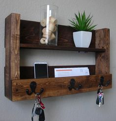 Items similar to Modern Rustic Entryway Organizer Shelf with Satin Nickel Coat Hat Hooks on Etsy Rustic Entryway 3 Hanger Hook Coat Rack with Shelf and Mail Phone Key Organizer–this is being sol Pallet Crafts, Pallet Projects, Wood Crafts, Woodworking Projects, Rustic Entryway, Entryway Decor, Pallet Furniture, Rustic Furniture, Modern Furniture