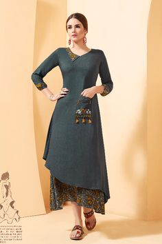 A Bunch Of 9 Pieces Stylish Occasional Wear Rayon Slub Kurtis.Renovate your boutique collection by adding this kurtis from the popular wholsale brand. Kurta Patterns, Dress Patterns, Kurta Designs, Blouse Designs, Kurti Styles, Dress Neck Designs, Indian Designer Wear, Colorful Fashion, Indian Dresses