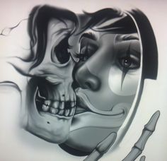 Chicano Drawings, Chicano Art, Art Drawings, Face Tattoos, Tatoos, Ozzy Tattoo, Evil Skull Tattoo, Cholo Art, Sugar Skull Art