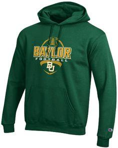Baylor Bears Green Football Powerblend Screened Hoodie Sweatshirt by Champion $42.95