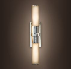 Cade Double Sconce | Restoration Hardware - vanity light option for guest bath in polished chrome: hang horizontally above mirror $239