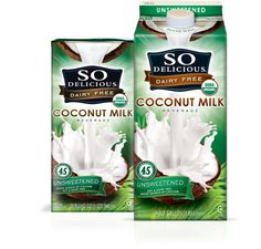 Unsweetened  Coconut Milk Beverage    Slide over Soymilk and move over milk, So Delicious Unsweetened Coconut Milk Beverage is here! This delicious beverage goes great on cereal, in coffee, mix into recipes and poured into a tall glass. Available in shelf-stable quarts & refrigerated half gallons.