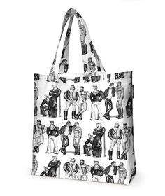 Tom Of Finlayson Lined Shopping BagCatch eyes with the perfect bag for cruising around town. Tom Finland's hunky men will do all the heavy lifting. Line Shopping, Shopping Bag, Tom Of Finland, Textile Company, Linens And More, Samar, Clever Design, Nordic Design, New Print