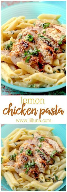 Lemon Chicken Pasta - a new favorite dinner recipe! Includes chicken, penne pasta, whole lemons, whipping cream, cheese, and fresh basil! You will love this recipe!!