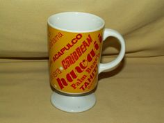 CARIBBEAN MUG BEACH DESTINATIONS CRUISE COFFEE TEA CUP PEDESTAL HAWAII BERMUDA