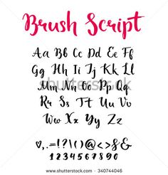 Brush script with lowercase and uppercase letters, keystrokes and digits. Full alphabet handwritten with brushpen. Vector calligraphic english abc,