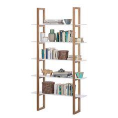Bücherregal Store - Eiche teilmassiv - Weiß