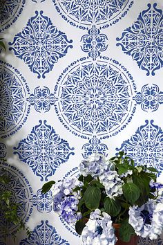 Large Moroccan Ornamental Tile Stencil - Wall idea