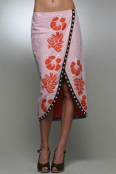 Tahitian Flower Wrap Skirt in Orange: Buy Letarte