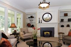 This photo gallery features a diverse set of beautiful living rooms with fireplaces. Every fireplace is a-glow with flame. Good mix of traditional and gas. Fireplace Set, Fireplace Tools, Living Room With Fireplace, Traditional Fireplace, Traditional House, Wood Burning Insert, Beautiful Living Rooms, Architecture Design, Family Room
